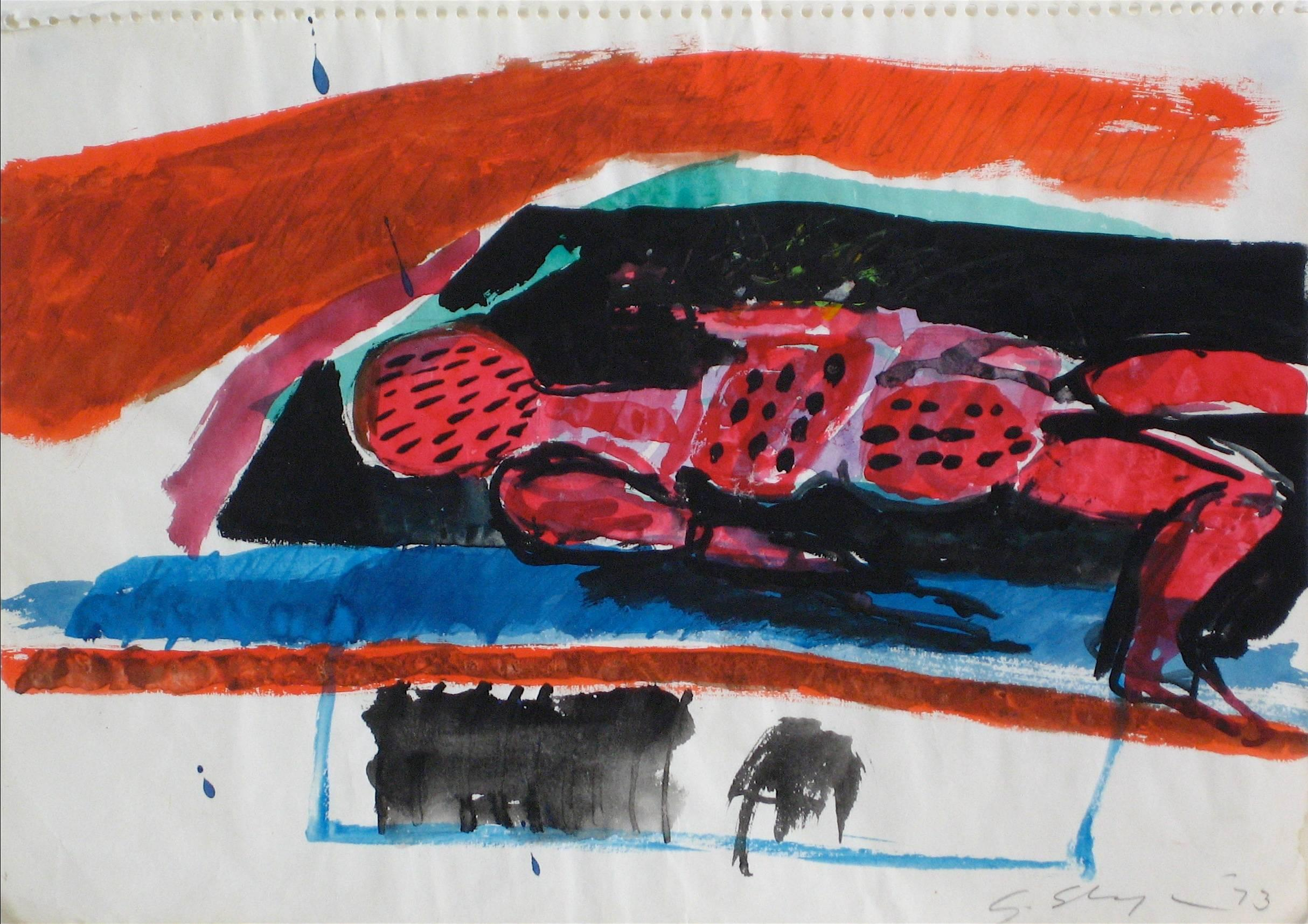 Abstract Expressionist Figure in Gouache, 1973