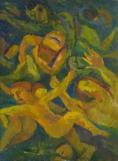 """Swimmers"" Expressionist Figures, Oil on Canvas, 1951"