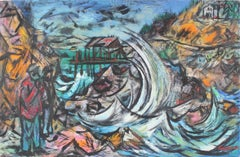"""Turbulent Coast"" Oregon, Oil on Paper Landscape, 1959"