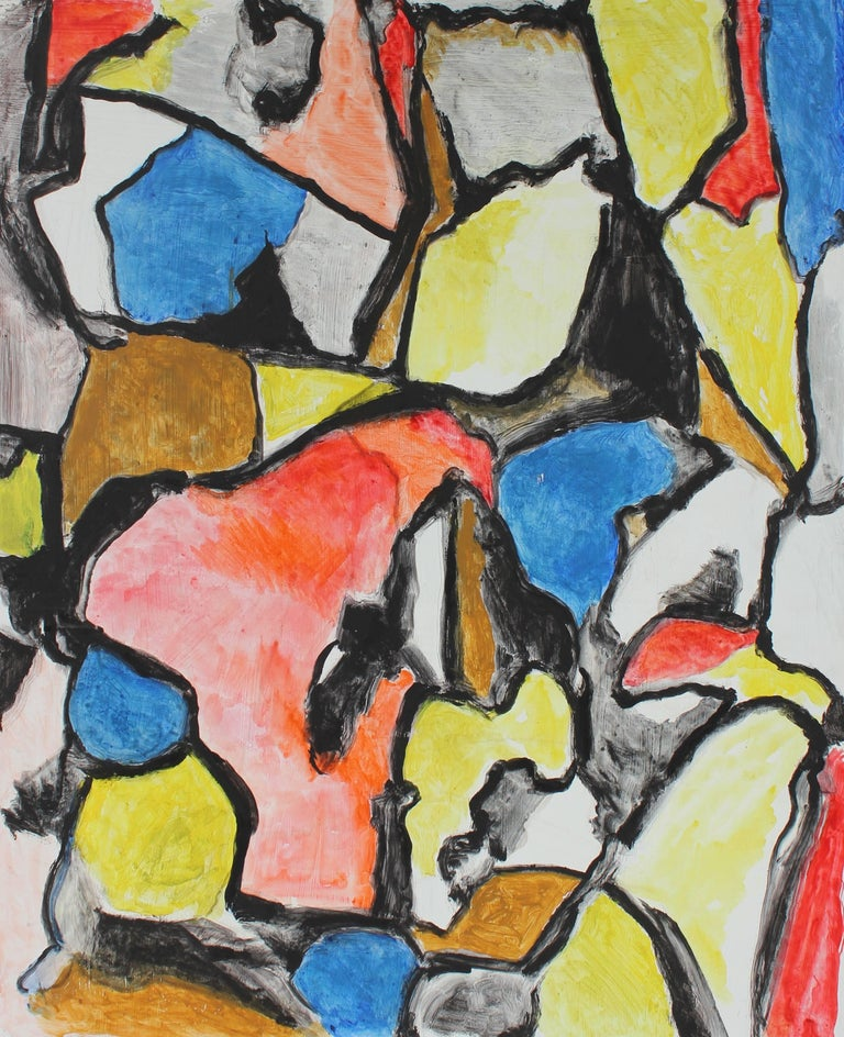 gustav friedmann abstract expressionist painting in primary colors