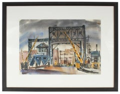 Waterfront Industrial Scene in Watercolor, Mid-Century