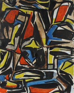 Cubist Abstract in Primary Colors, Circa 1940s