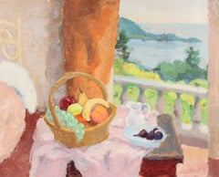 Still Life By a Window, Monotype and Oil Painting, 20th Century