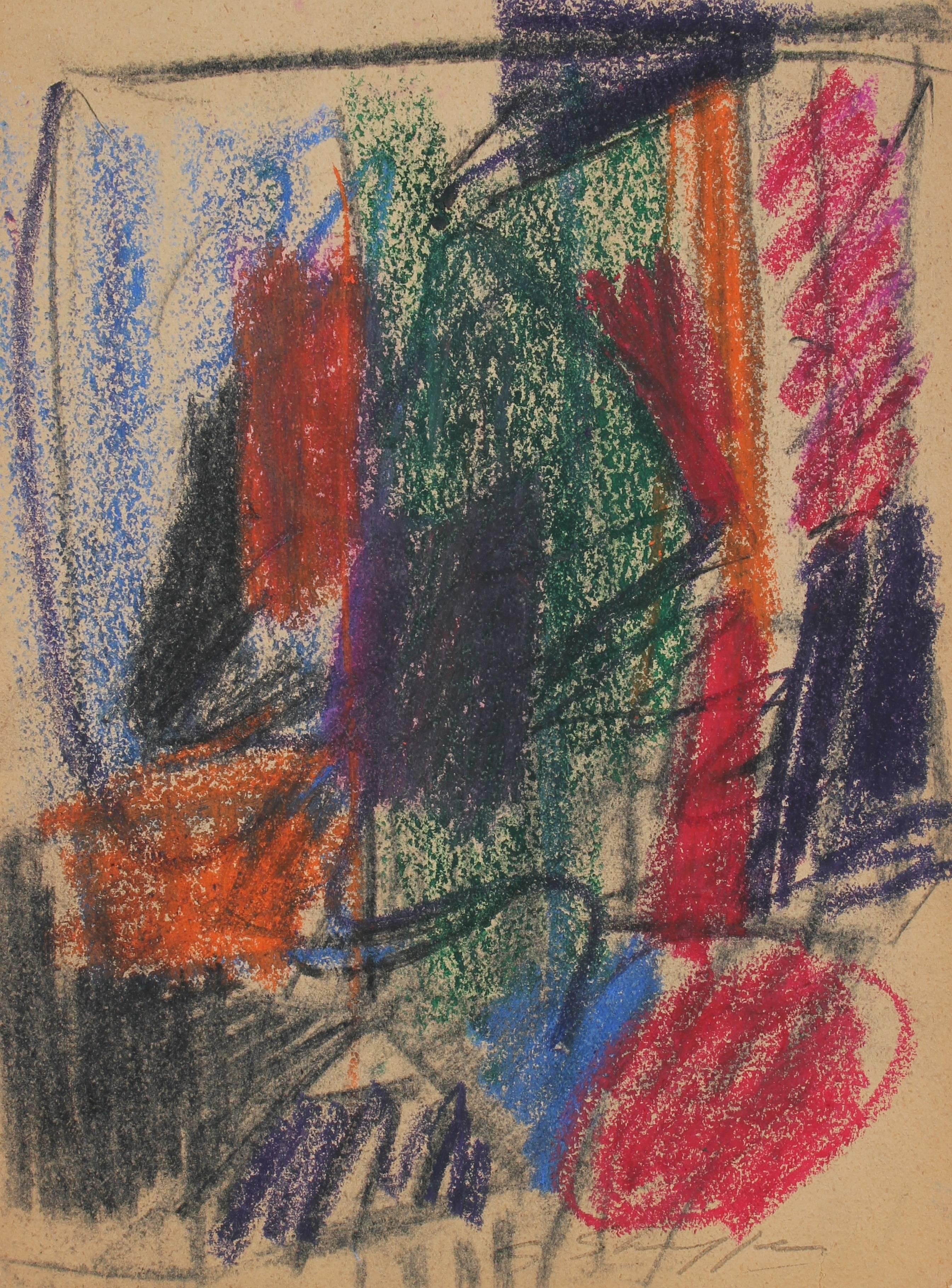 Abstract Expressionist Study in Pastel, 1958