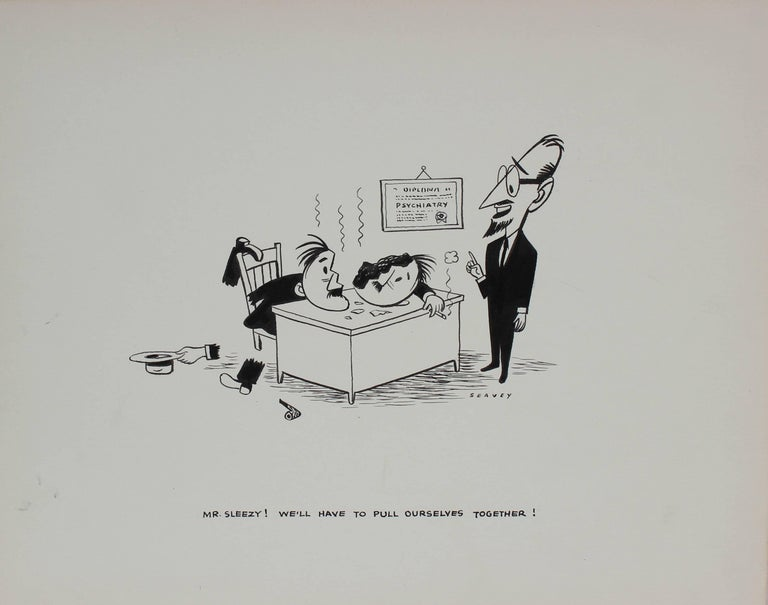 Office Cartoon Illustration, Ink on Paper, 1946