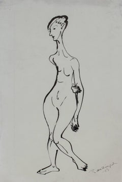 Expressionist Figure Study in Ink, Mid 20th Century