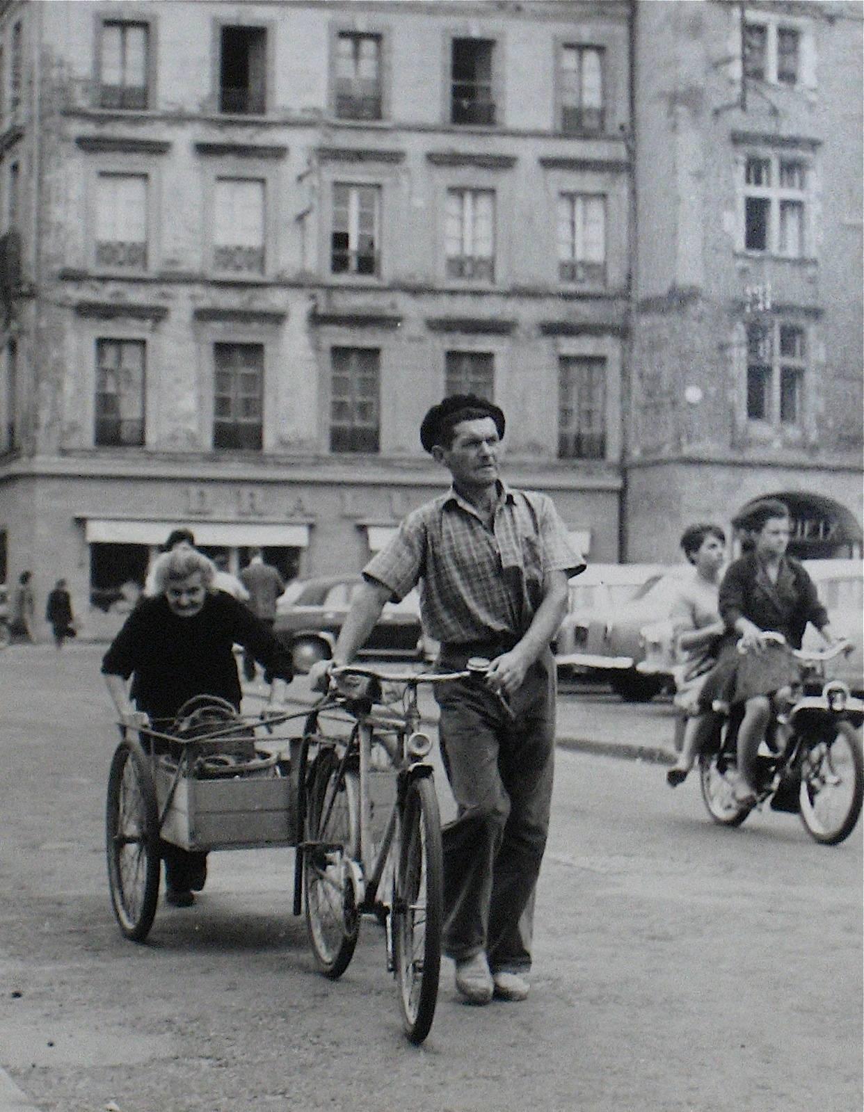 Man with a Bicycle, Yugoslavia, Silver Gelatin Print, 1960s