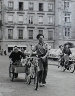 Man with a Bicycle, Yugoslavia, Silver Gelatin Print, 1960s