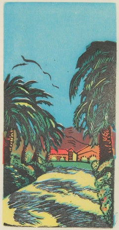 Bay Area Ranch with Palm Trees, Linocut, Circa 1940s