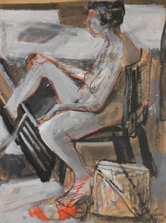 Bay Area Figurative Interior, Charcoal and Gouache on Paper, 1960s