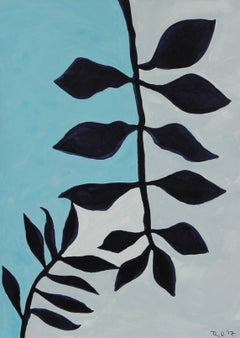 """Botanicals of Orquevaux III"" Gouache on Paper in Blue, 2017"