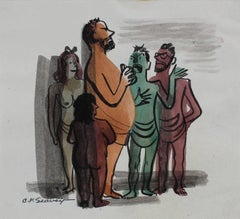 People in a Crowd, Watercolor Painting, 1946