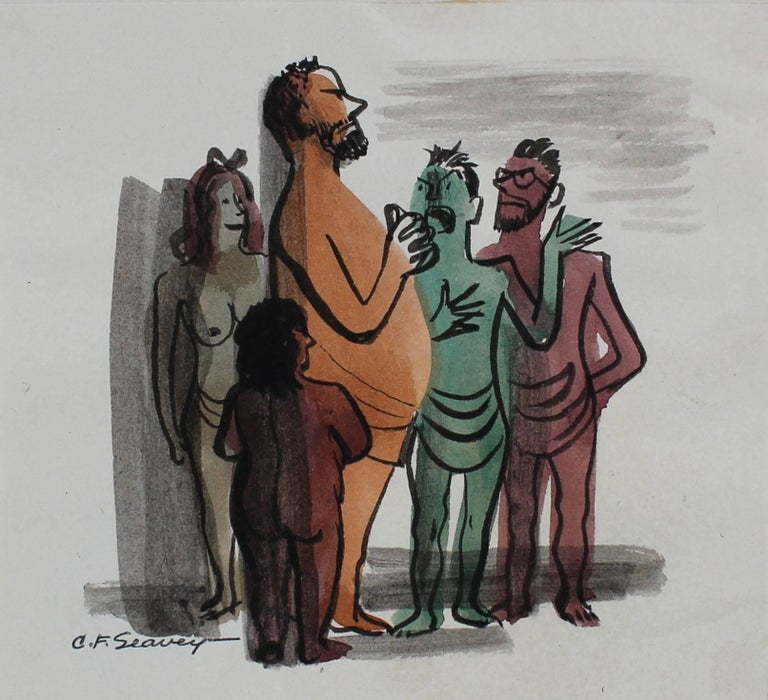 People in a Crowd, Watercolor Portraits, 1946