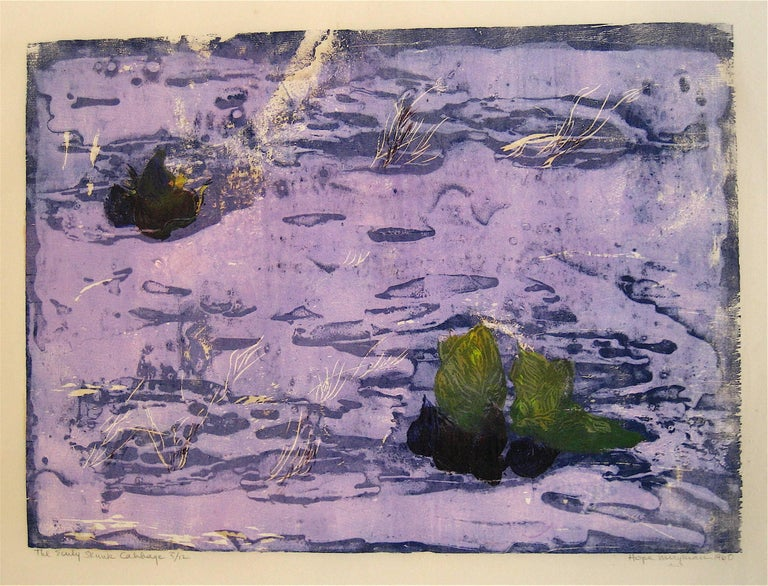 "Hope Meryman Landscape Print -  1960's ""The Early Skunk Cabbage"" Woodcut Landscape"