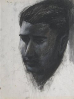 Shaded Portrait of a Man in Charcoal, Circa 1930s