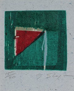 Small Abstract Print in Green, 20th Century
