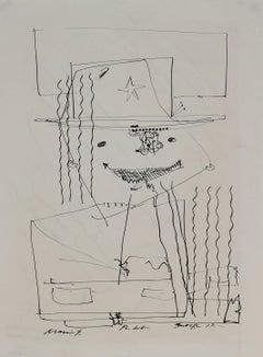 Surrealist Portrait in Ink, Circa 1960