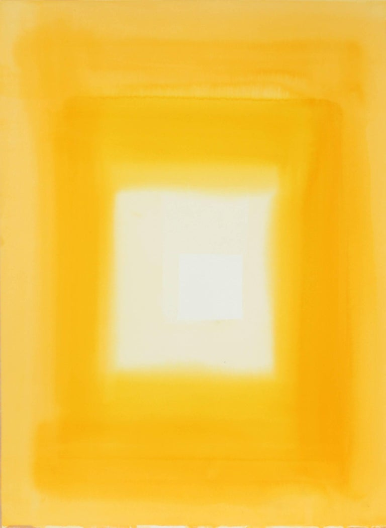 Hugh Wiley Abstract Drawing - Abstract in Yellow Watercolor, Late 20th Century