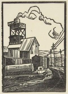 Train Tracks in a Landscape, Linocut on Paper, Circa 1940s