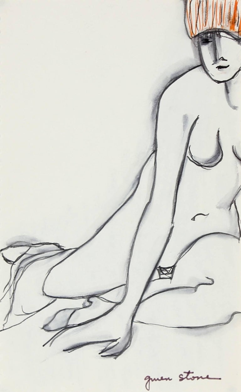 Gwen Stone Nude - Sketch of a Seated Woman in Ink, 20th Century