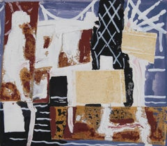 Abstracted New York Bridge Framed Collage, 1963