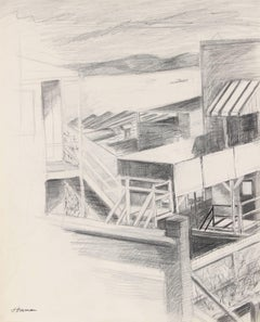 Backyard Overlooking the SF Bay, Ink and Graphite, Circa 1960