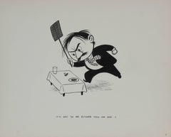 """""""It's Got to be Either You or Me!"""" 1946 Cartoon Illustration in Ink"""