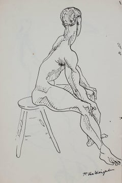 Seated Male Figure in Ink, Circa 1950s