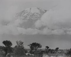 Mountain Landscape Through Clouds, Black and White Photograph, Circa 1960s