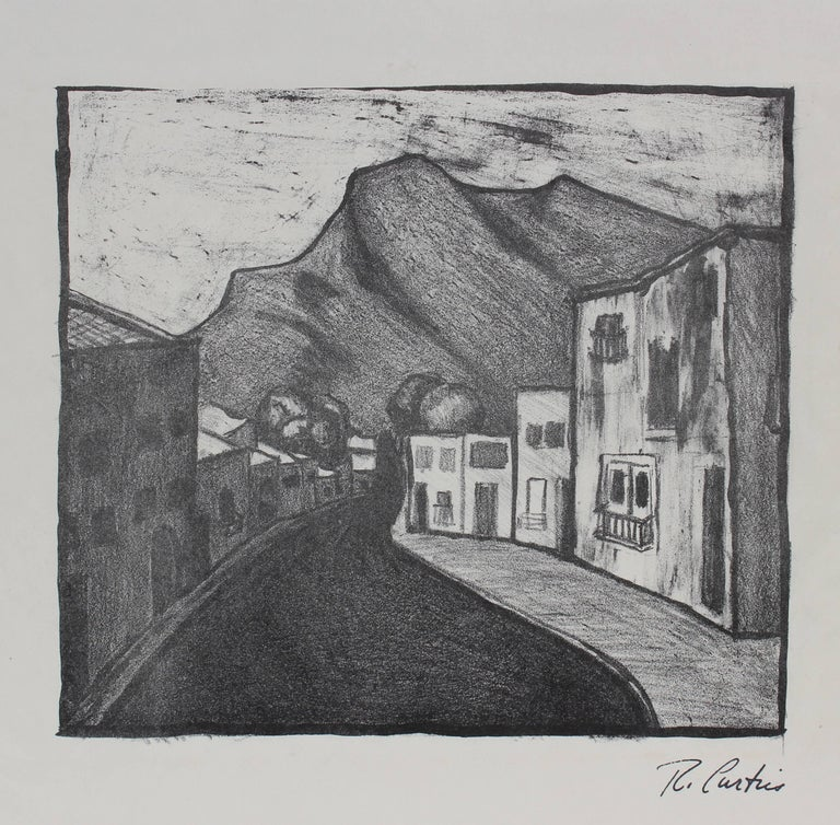 Mexican Street Scene, Mid Century Monochromatic Lithograph
