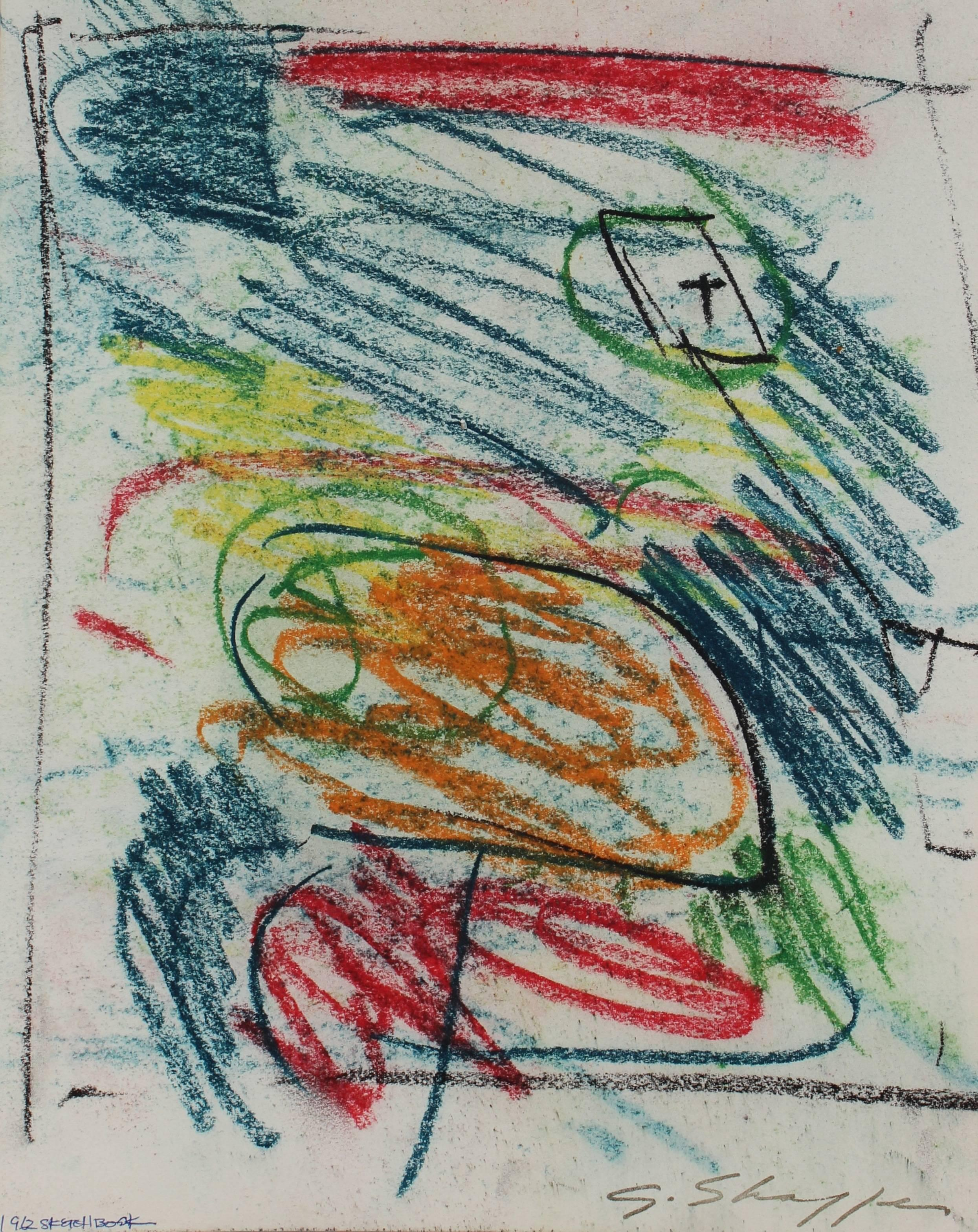 Abstract Expressionist Sketch in Pastel, 1962