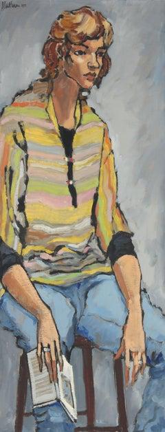 """Linda, Oakland"" Portrait Painting in Oil, 1971"