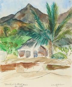 """Beach at La Peñita, Mexico"" Framed Landscape in Watercolor and Ink, 1976"