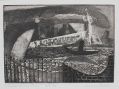 """Lackawanna Ferry"", 1947, Monochromatic Etching on Paper Seascape"