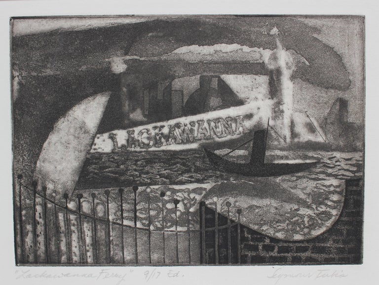 """Lackawanna Ferry"" Etching on Paper Seascape, 1947"
