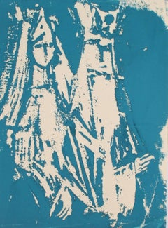 Christmas Kings Serigraph in Blue, Circa 1970s