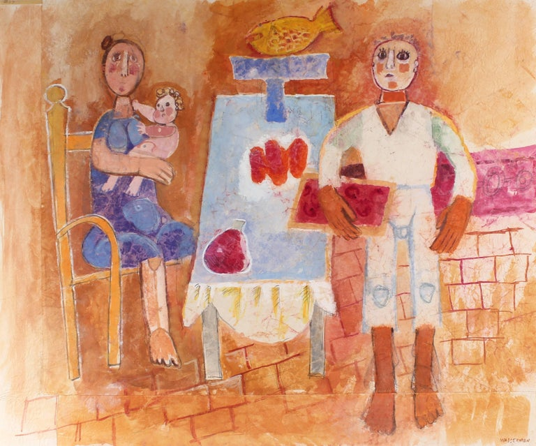Family Dinner Still Life, Gouache Painting, Circa 1960s