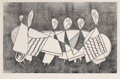 Seated Cubist Figures, Monotype, Circa 1970s