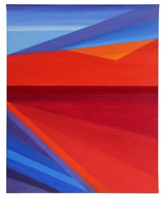 """""""Deconstructed Landscape I"""" Large Geometric Abstract in Oil, 2012"""