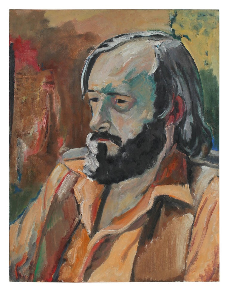 """A.M. Tuggle"" Modernist Portrait of a Man in Oil, 1972"