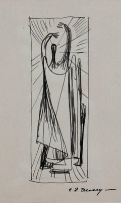 Petite Monochromatic Figure in Ink, 1952