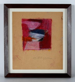 Petite Abstract in Red and Pink, Pastel on Paper, 1958