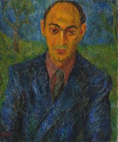 """""""Portrait of Arthur"""" Oil on Canvas Expressionist Portrait, Circa 1946"""