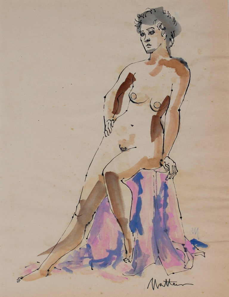 Seated Figure in Watercolor and Ink, 1965