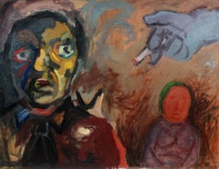 Expressionist Figures in Oil, Circa 1940s