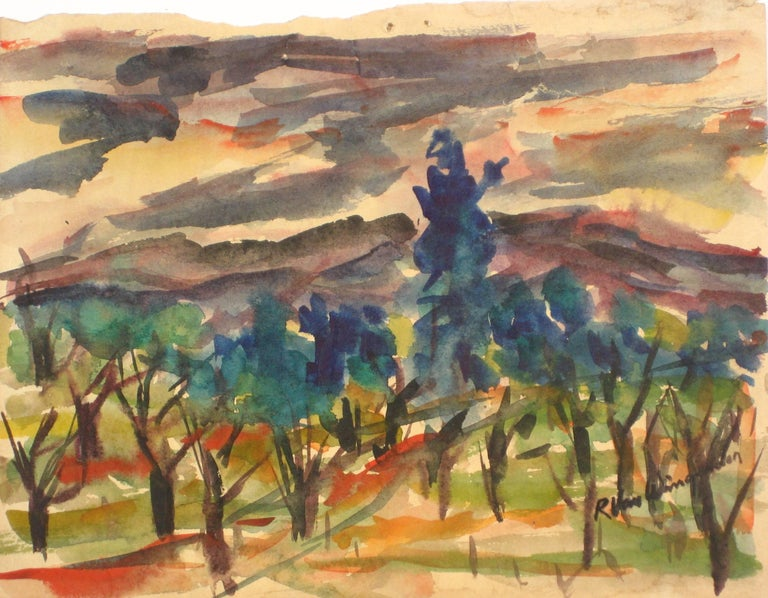 Expressionist Landscape, Mid Century, Watercolor on Paper