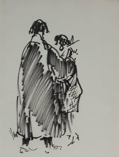 Black and White Sketch of Two Figures, Felt Marker on Paper, 1960's