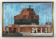 """Rome"" Castel Sant'Angelo, Oil on Linen, 1971"