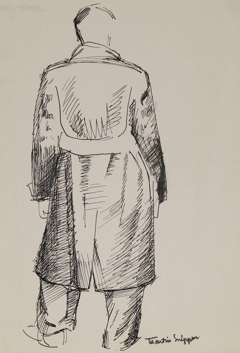 Man in Trench Coat, Ink on Paper Sketch, 20th Century - Art by Martin Snipper