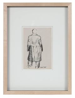 Man in Trench Coat, Ink on Paper Sketch, 20th Century